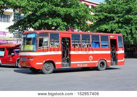 CHIANGMAI THAILAND - MAY 13 2014 : Old bus of Prempracha company no.612-156. Route Mae hong son and Chiangmai. Photo at Chiangmai bus station thailand.