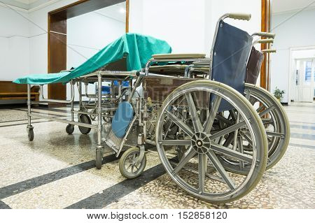 Wheelchair In A Hospital. No People