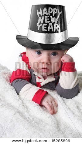 Happy New year baby wearing a top hat