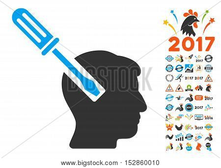 Head Screwdriver Tuning icon with bonus 2017 new year icon set. Vector illustration style is flat iconic symbols, modern colors, rounded edges.