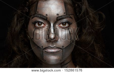 Headshot Of Women With Metal Paint