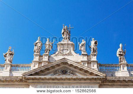 San Giovanni al laterano, Christo Salvatori, basilica front facade in Rome, Italy