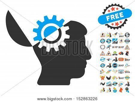 Open Mind Gear pictograph with bonus 2017 new year pictograph collection. Vector illustration style is flat iconic symbols, modern colors, rounded edges.