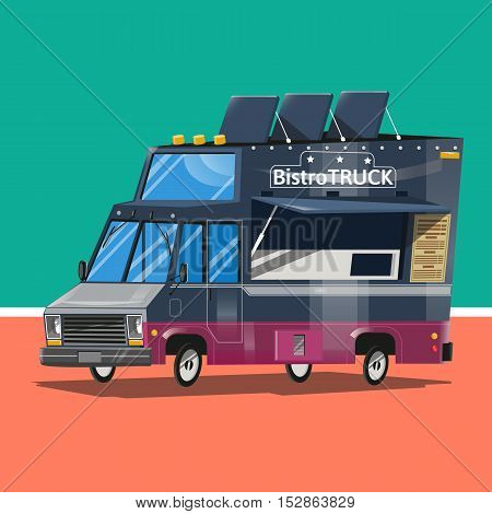 Food delivery transportation creative icon Bistro truck.