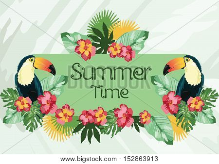 Exotic tropical Summer card with toucan parrot birds and flowers. Vector background illustration