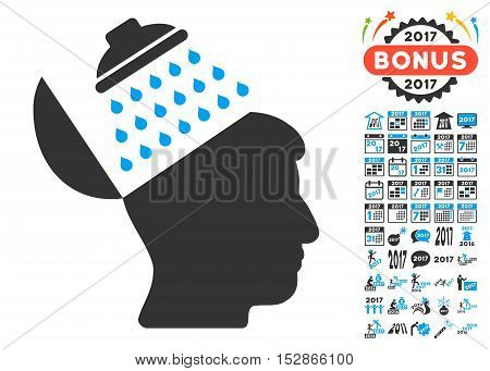 Propaganda Brain Shower pictograph with bonus 2017 new year graphic icons. Vector illustration style is flat iconic symbols, modern colors, rounded edges.