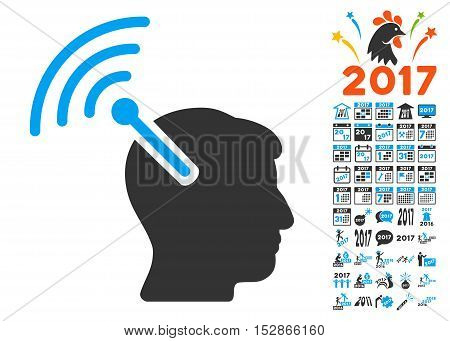 Radio Neural Interface icon with bonus 2017 new year pictures. Vector illustration style is flat iconic symbols, modern colors, rounded edges.