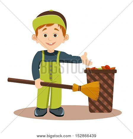 Ecologically responsible waste and garbage collecting for recycling,student voluntarily collects a broom, dry leaves, vector illustration,cleaning the foliage in autumn city