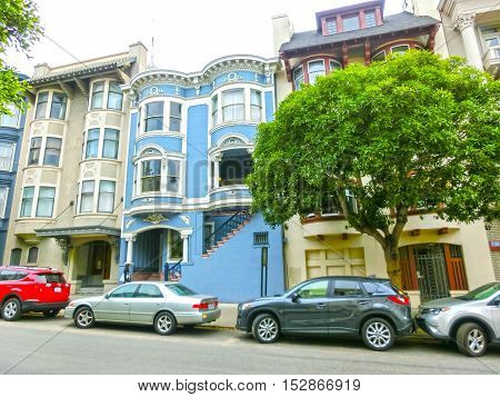 San Francisco, California, United States of America - May 04, 2016: The traditional windows of building in San Francisco, USA