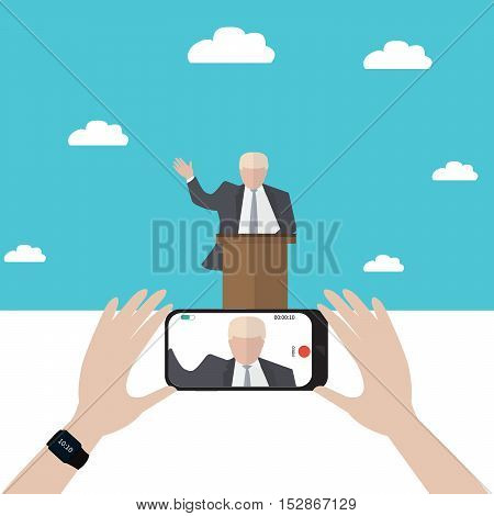 Presidential candidate speaks to people from tribune. Flat tribune Icon web. President debates. Vector illustration