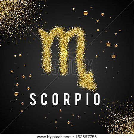 Zodiac Sign Gold Tinsel, scattered on black background. Gold circles and stars and patches of light. Golden Glitter Particle. Trendy Gold Glitter Texture. Horoscope predicts your destiny.