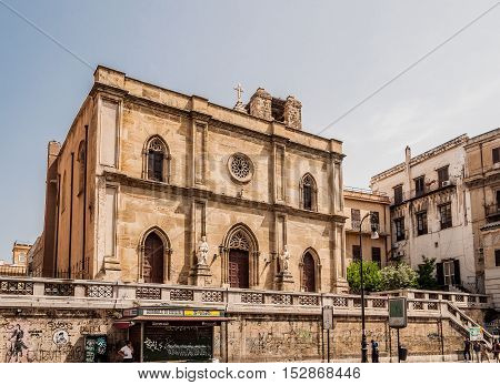 PALERMO ITALY - SEPTEMBER 6 2015: The church of Sant Antonio abate is a Church of Palermo located in the central Via Roma Sicily Italy.