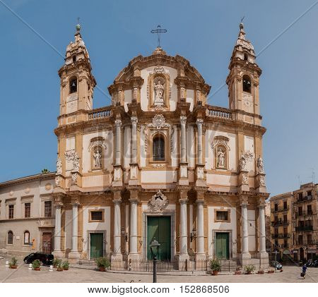 PALERMO ITALY - SEPTEMBER 6 2015: The Basilica San Domenico or Chiesa di San Domenico e Chiostro in Palermo Sicily Italy. Sicilian barocco.