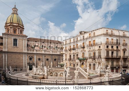 PALERMO ITALY - SEPTEMBER 7 2015: Piazza Pretoria is one of the Central squares of Palermo Italy.