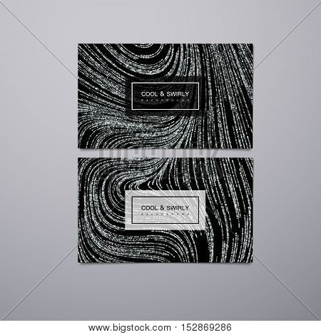 Greeting, invitation or business cards design template with swirled glittering stripes. Vector illustration of silver glitter background. Marble or acrylic texture imitation.