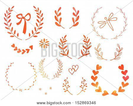 Collection of hand drawn doodle design elements with watercolor texture isolated on white background. Set of autumn handdrawn dragonfly laurel wreaths floral dividers ribbon. Vector illustration.