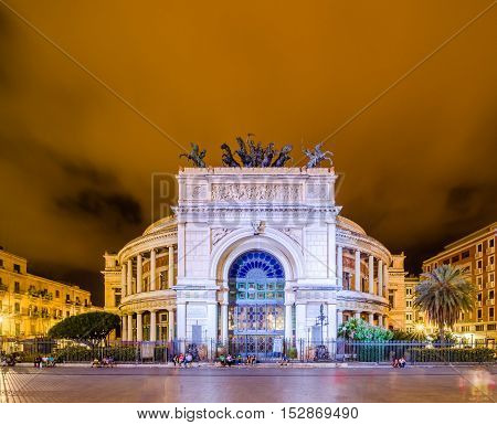 PALERMO ITALY - SEPTEMBER 6 2015: Night view of the Politeama Garibaldi theater in Palermo Sicily Italy