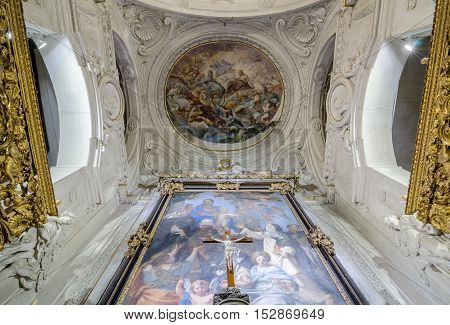 PALERMO ITALY - SEPTEMBER 9 2015: Interior of the Oratory of the Rosary of Santa Cita in Palermo Sicily Italy.