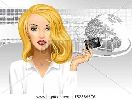 Blonde girl holding a credit card on digital abstract background with globe. Global business conceptual vector illustration