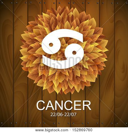 Sign of the zodiac. Cancer horoscope. white sign with a circle of autumn leaves. Wooden planks background