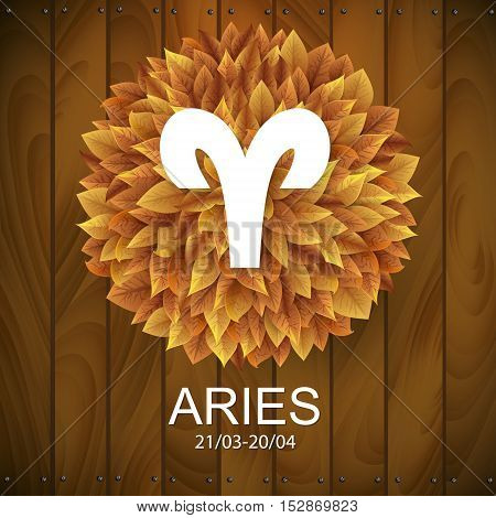 Sign of the zodiac. Aries horoscope. white sign with a circle of autumn leaves. Wooden planks background.