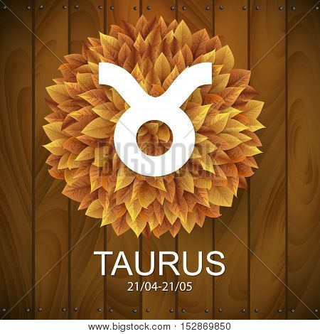 Sign of the zodiac. Taurus horoscope. white sign with a circle of autumn leaves. Wooden planks background.