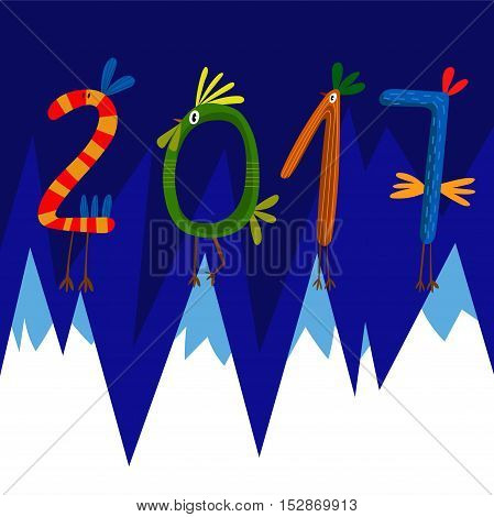 2017 Concept New Year Background. 2017 Made Of Bright Design Roosters.symbol Of 2017 On The Chinese