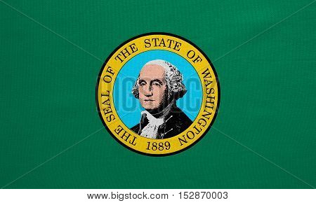 Flag of the US state of Washington. American patriotic element. USA banner. United States of America symbol. Washingtonian official flag real detailed fabric texture illustration. Accurate size color