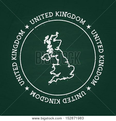 White Chalk Texture Rubber Seal With United Kingdom Of Great Britain And Northern Ireland Map On A G