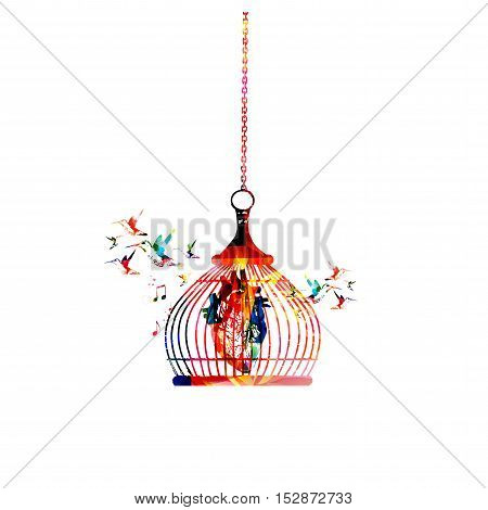 Colorful human heart in cage vector illustration. Health problems, heart disease, human internal organs, health care, prevention, heartache concept.