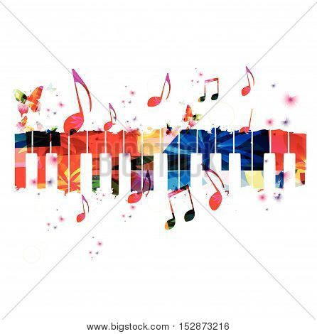 Creative music style template vector illustration, colorful piano keys, music instrument background with music notes. Music poster, brochure, banner, flyer, concert, music festival, music shop design
