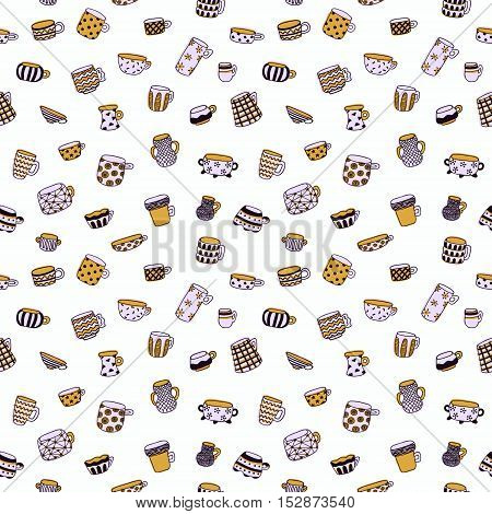 Cute cartoon naive cups seamless vector pattern. Kids style drawing.