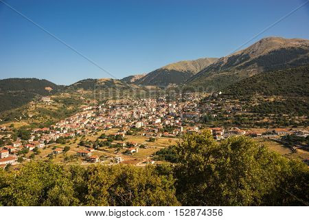 Cityview At Mountain Village Of Karpenisi, Evritania, Greece