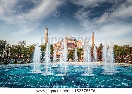 Hagia Sophia museum, Istanbul, Turkey. Aya Sofia mosque exterior in Istanbul, Turkey.