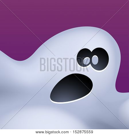 illustration of fun bright color ghost on violet background