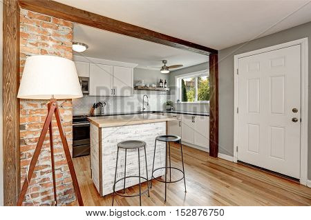 White And Grey  Kitchen Room Interior
