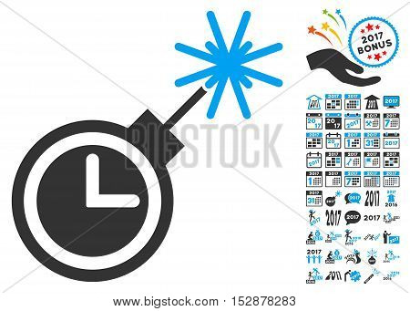 Time Bomb icon with bonus 2017 new year symbols. Vector illustration style is flat iconic symbols, modern colors, rounded edges.