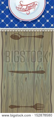 Menu cover label banner - template design on wooden background for cafe or restaurant. Bon appetit! Calligraphic handdrawn text on plate.