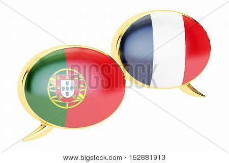 Speech bubbles Portuguese-French translation concept. 3D rendering