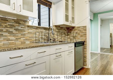 Modern White Cabinets And Brown Mosaic Back Splash In Apartment
