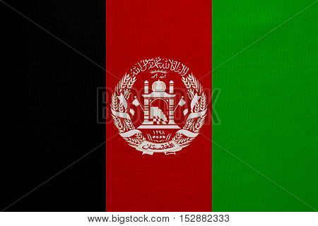 Afghan national official flag. Patriotic symbol banner element background. Correct colors. Flag of Afghanistan with real detailed fabric texture accurate size illustration