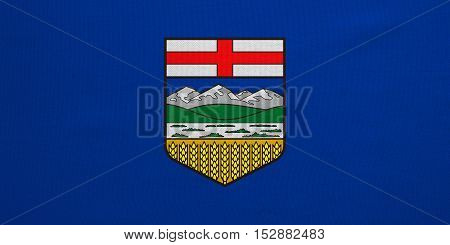 Albertan provincial official flag symbol. Canada banner and background. Canadian AB patriotic element. Flag of the Canadian province of Alberta detailed fabric texture accurate size illustration