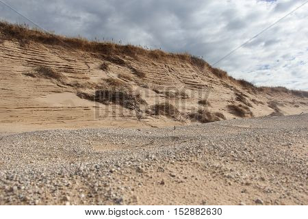 Gravel and layers of sand in Sleeping Bear Dunes National Lakeshore, Michigan
