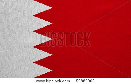 Bahraini national official flag. Patriotic symbol banner element background. Correct colors. Flag of Bahrain with real detailed fabric texture accurate size illustration