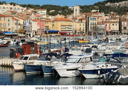 Harbour of Cassis, town  situated on the Mediterranean coast, about 20 kilometres  east of Marseille