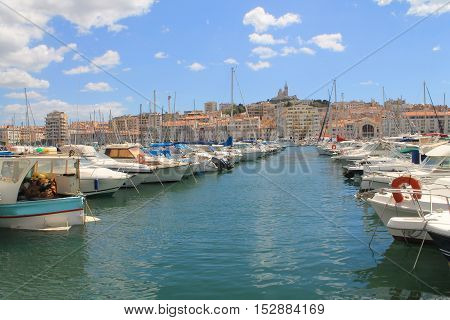 Old port of Marseille, capital of the Bouches du Rhone department and Provence Alpes Cote d'Azur region