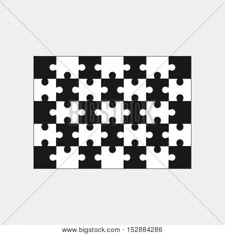 Jigsaw puzzle vector, blank simple template thirty-five elements