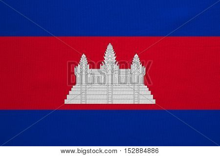 Cambodian national official flag. Patriotic symbol banner element background. Correct colors. Flag of Cambodia with real detailed fabric texture accurate size illustration
