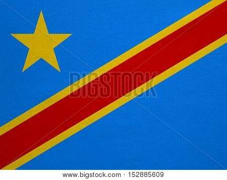 DR Congo national official flag. African patriotic symbol banner element background. Correct color. Flag of Democratic Republic of the Congo real detailed fabric texture accurate size illustration