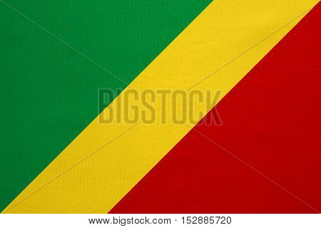 Congo Republic national official flag. African patriotic symbol banner element background. Correct colors. Flag of Republic of the Congo real detailed fabric texture accurate size illustration